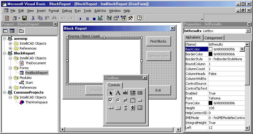 IntelliCAD 2000 beta VBA 6